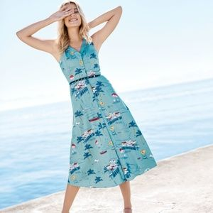BODEN Josephine Seaside Beach Dress Blue {C20}